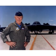 Yeager standing w/ B-2